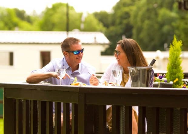 Enjoy food and drinks on the decking at Heather View