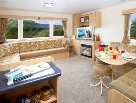 Living area in a pre-owned caravan