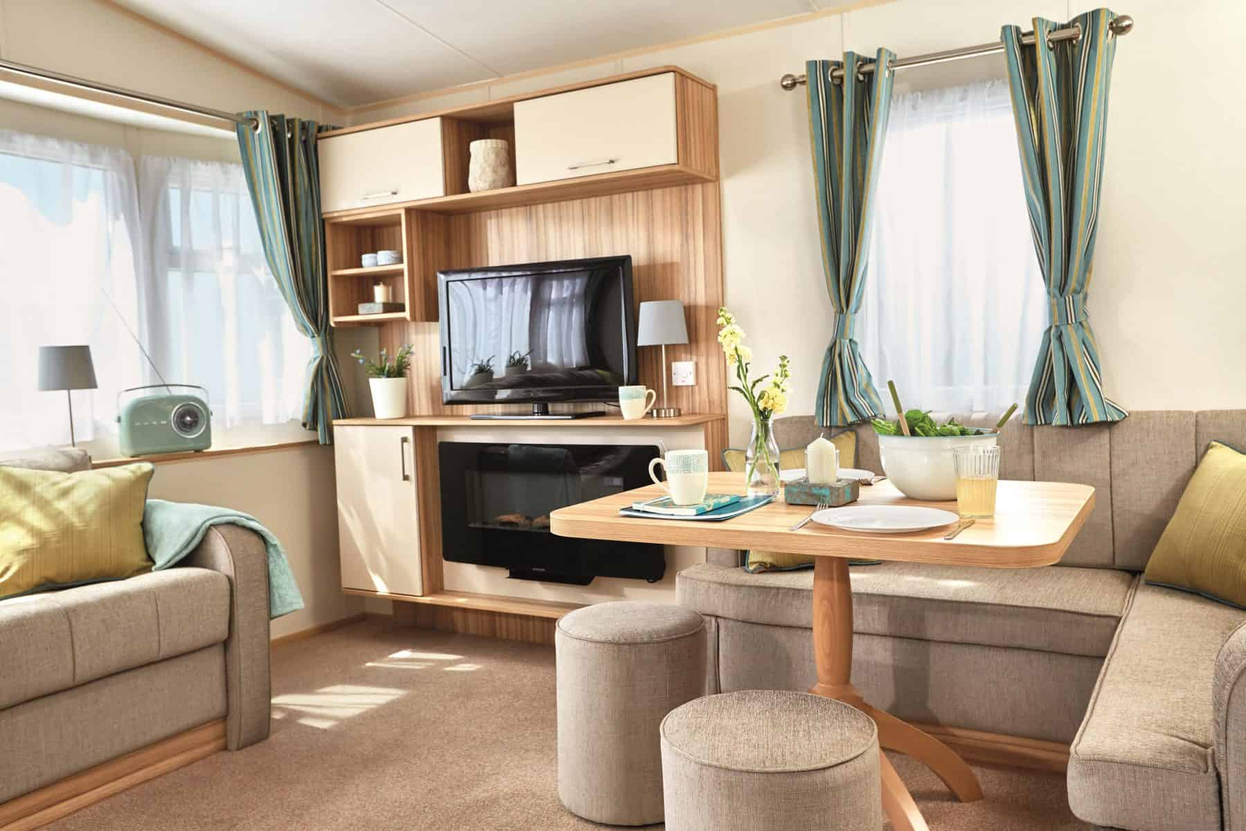 Dining table in a superior caravan
