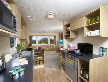 Kitchen in a pre-owned caravan