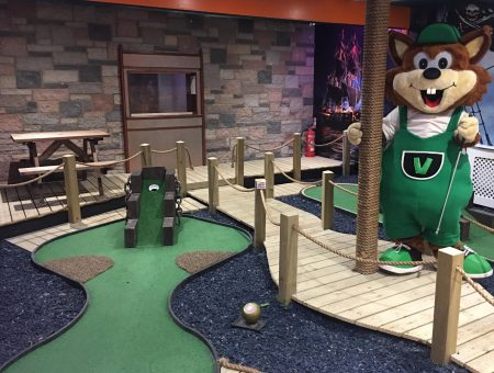 Enjoy mini golf at Scoutscroft Leisure Park like our mascot Vinnie